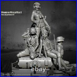 1/35 Resin Figure Model Kit Sexy Girl German Soldiers Waffen-SS (no tank) WWII