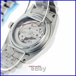 36mm PARNIS Silver dial 21 jewels miyota luminous Datejust automatic men's watch