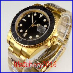 40mm Black dial Sapphire Yellow Gold Plated NH35A Automatic movement men's Watch