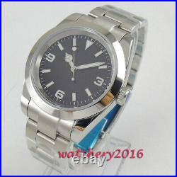 40mm Japan NH35 Automatic Movement Mens Watch Black Dial Sapphire Glass Oyster