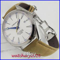 41mm Corgeut White dial Sapphire Glass Date Miyota automatic movement mens Watch