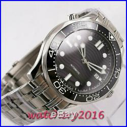 41mm bliger sterile black dial sapphire glass ceramic bezel automatic mens watch