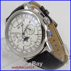 42mm Debert White Dial Moon Phase Date Day Week Automatic Movement men's Watch