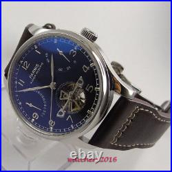 43MM PARNIS Black Dial Power Reserve Date ST2505 Automatic Movement Mens Watch