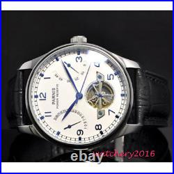 43MM parnis White Dial Power Reserve Date ST2505 Automatic Movement mens Watch