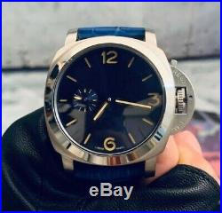44mm Marine Military Luxury Seagull Hand Winding Blue Dial Analog Watch Men 316L