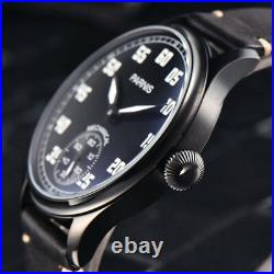 44mm PARNIS black dial PVD Luminous Marks 6498 hand wind movement men's watch