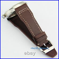 44mm Parnis Seagull st36 Mechanical Hand Winding Mens 6497 Black Dial Watch