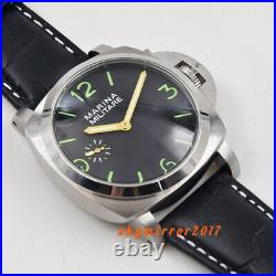 47mm black dial green marks hand winding 6497 movement watch brushed military