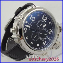 50mm PARNIS black dial Big Face SS Case Day Date Automatic Mechancial Mens Watch