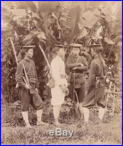 Albumen Photograph Indo China Armed Military Natives