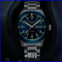 Carnival Men Double Calendar Date Tritium Gas Luminous Military Stainless Watch