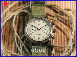 Free Gift 1963 Red Star Pilot Seagull Mvt ST19 Chronograph Hand wind Watch 38mm