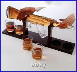 Handcrafted AK 47 Gun Lovers Large Rifle Decanter Set Bullet With Glasses Whisky