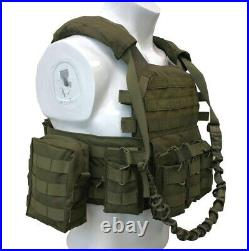 LQArmy Military Security Tactical Molle Plate Carrier Assault Vest withPouch Green
