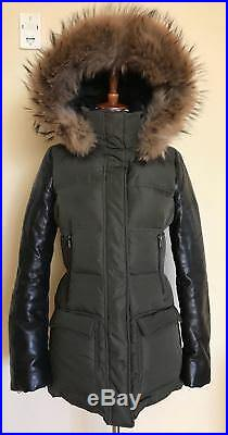 Mackage Orla Leather Sleeve Down Parka, Army, Size XS