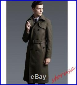 Men Long Trench Coat jacket Outwear British Double Breasted Military Windbreaker
