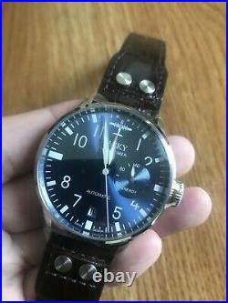Men's Automatic Watches Vintage Stainless Steel pilot Wrist watch sapphire glass