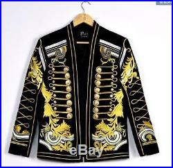 Mens Gold Thread Suit Blazer Military Bar Coat Jacket Dress Formal Embroidery