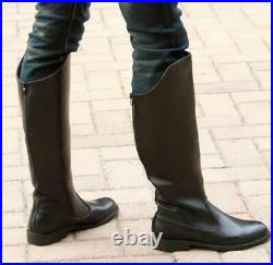 Mens Leather Equestrian Boots Flat Vintage Riding Military Boots Knee High Shoes