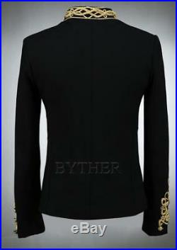 Mens Military Gold embroidery British Slim fit Gown Coat Stage Night club jacket