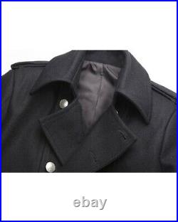 Mens Military Wool Outerwear Double Breasted Trench Long Coat Overcoat Jacket