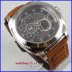 Military PARNIS black dial Sapphire Glass 21 jewels miyota automatic men's Watch