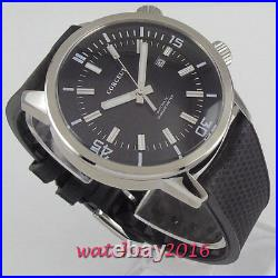 NEW 45mm Corgeut Black Dial Brushed Case Rubber Automatic Mechanical Men's Watch