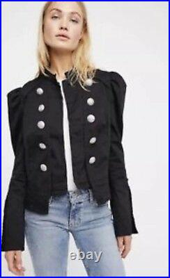 NEW Free People Structured Puff Sleeve Military Blazer Jacket Size Small Black