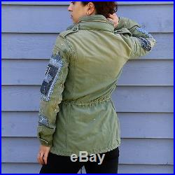 New $300 RALPH LAUREN Patchwork Military Jacket Army Field Green Womens Size 2XS