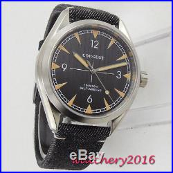 New 41mm Corgeut Black Dial Sapphire Glass Miyota automatic movement men's Watch