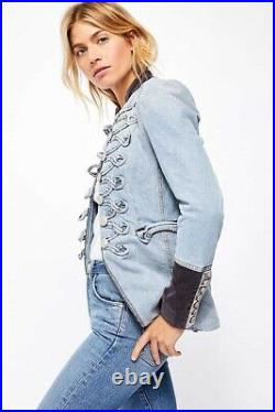 New Women's Free People Denim Seamed And Structured Jacket Coat Sz S M