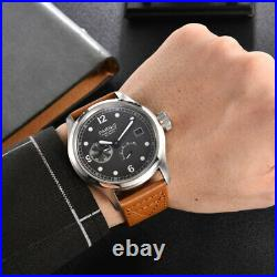 PARNIS Men's Watch ST 2530 Movement Power Reserve Grey Dial Date Leather Band