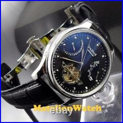 Parnis 43mm black ST 2505 Automatic men's watch power reserve Date indicate