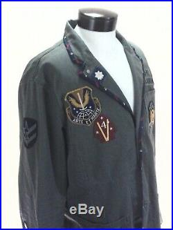 Polo RALPH LAUREN Military Blazer Jacket Sportcoat Green Patches USA Flag Men XL