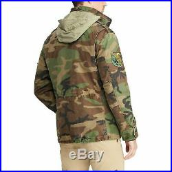 Polo Ralph Lauren Canvas Military Army Patchwork Camo Field Jacket New
