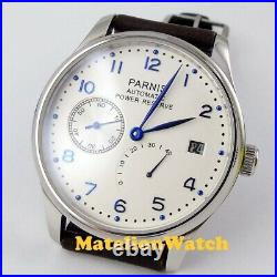 Power Reserve Parnis 43mm White Date ST 2530 Automatic Men's watch leather blue