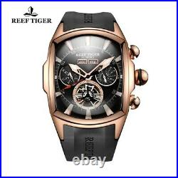 REEF TIGER men's watch chronograph gold analog military waterproof big dial new