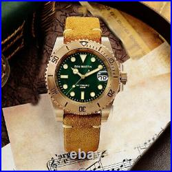 San Martin Men's Vintage Bronze Diver Watches Automatic NH35 Movement Watch new
