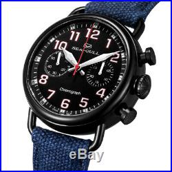 Seagull PVD Black Case Hand Wind Mechanical Chronograph Chinese Military Watch