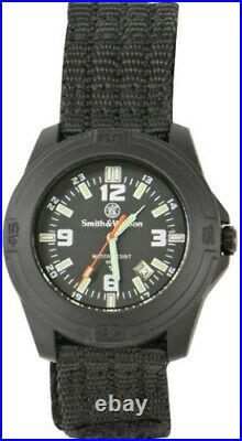 Smith & Wesson Soldier Watch Black nylon wrist strap. Tritium hands and markers