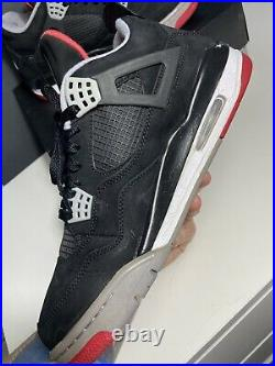 USED Nike Air Jordan 4 Retro Bred 2012 Red Military Blue White Cement Size 11