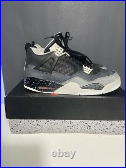 USED Nike Air Jordan 4 Retro Fear Pack Red Military Blue White Cement Size 10