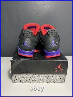 USED Nike Air Jordan 4 Retro Raptors Red Bred Military Blue White Cement Size 8