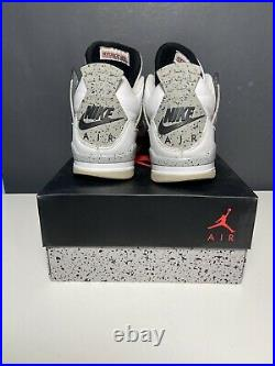 USED Nike Air Jordan 4 Retro White Cement Bred 2016 Red Military Blue Size 10