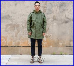 Vintage M1951 Fishtail Parka Winter Men's M51 Military Trench Coat With Liner