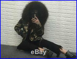 Women Real FUR Camouflage Hooded Thicken Parka Slim Fit Coat Outwear Military N3