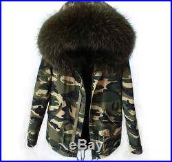 Women's Real FUR Camouflage Hooded Thick Parka Slim Coat Outwear Military Sz